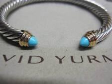 David Yurman 5mm Turquoise Cable Bracelet SS & 14K Gold