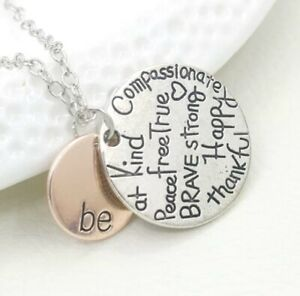 Be Brave Happy Strong Thankful Kind True Silver & Gold Colour Pendant Necklace