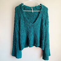 Free People Teal Sand Dune Chunky Knit Bell Sleeve V-neck Pullover Oversized XS