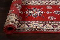 "RED/ IVORY Geometric 10 ft. Super Kazak Oriental Runner Rug Wool 10' 2"" x 2' 8"""