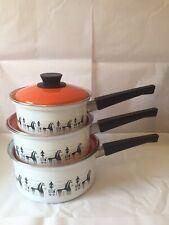 More details for vintage saucepan set retro 1970s trio 3 pans danish style illustration