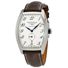 Longines Evidenza Silver -  Flinque Dial Brown Alligator Leather Stainless