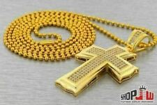 Simulated Diamond Cross Pendant Chain Set Gold Plated Mens Ladies Bling