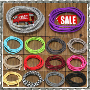 Round Silk Braided Vintage Fabric Colored Lighting Cable Flexible 3Core 0.75mmUK