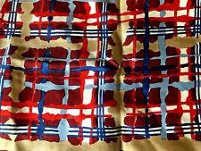 Vtg Echo 100% Silk Scarf 30 Inches Square Artsy Plaid Navy Blue Red Tan Mint