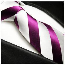 Paul Malone Krawatte pink weiß gestreift Seide - pinke Seidenkrawatte 451