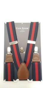 Club Room Men's Collegiate Stripe Suspenders (Blue/Red, OS)