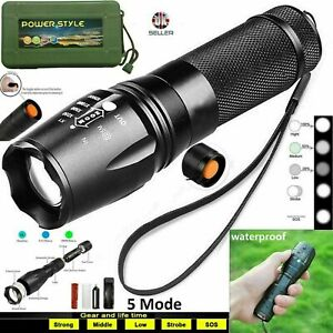90000LM Police T6 LED Torch Flashlight Super Bright Powerful Zoom Camping Lamp