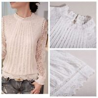 Women's Elegant Stand Collar Long Sleeve Slim Crochet Lace T Shirt Blouse Tops