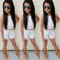 Toddler Kids Baby Girls Outfits Clothes Lace T-shirt Tops+Pants Shorts 2PCS Set