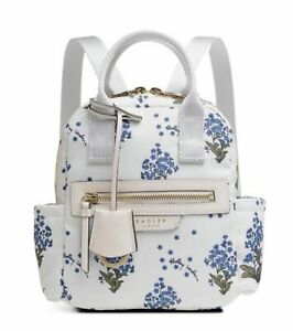 Radley Maple Cross Forget Me Not Small Zip Top Backpack Bag H20.5 W18 New Chalk
