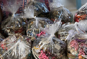 2kg Bag Job Lot Costume Jewellery Bundle Craft Vintage Upcycle resell carboot