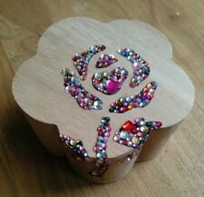 HANDMADE FLOWER SHAPED GEM ROSE ENCRUSTED WOODEN TRINKET BOX  gift see pics