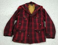 Vtg Woolrich Men's 1940s 50s Wool Mackinaw Plaid Hunting Coat Zip Up Hood Sz 44