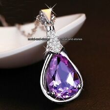CHRISTMAS Gift For Her Unusual Purple Crystal Necklace Love Mum Mother Nan Women