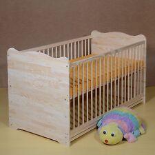 Lit à Barreaux Bébé Set de Complet Junior 2 en 1 Matelas 60x120cm Massif Gravure
