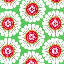 Retro Christmas Green Red White Courtney Floral Flower Damask Michael Miller
