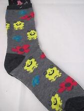 Ladies Frog Toad Novelty Fashion Crew Socks size 9-11Grey Black Trim Cuff heel