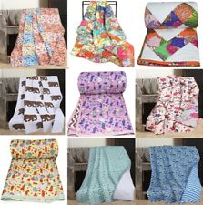 Indian Handmade Block Print Kantha Baby Quilt Cotton Filling Comforter Bedspread