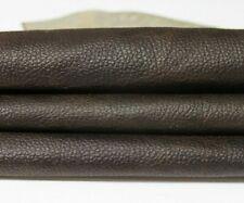 DARK BROWN PEBBLE GRAINY distressed Italian Goat leather skin 4sqf 0.7mm #A5320