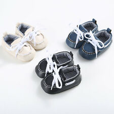 UK Toddler Baby Newborn Girl Boy Leather Crib Soft Sole Shoes Anti-slip Sneakers