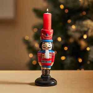 New Glossy Finish Nutcracker Taper Candle Holder 100% Ceramic Home Decor M-21