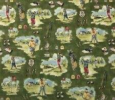 "P KAUFMANN HOLE IN ONE GRASS GREEN GOLD TOILE GOLF CLUBS FABRIC BY YARD 54""W"