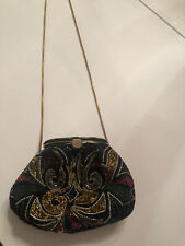 Gorgeous Vtg Beaded Purse Small With A Long Chain Attached Or Could Be Hidden