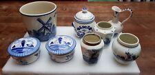 Lot 8 pieces Vintage Dutch Delft Blue White Jugs and Jars 6 cm - 11,5 cm high
