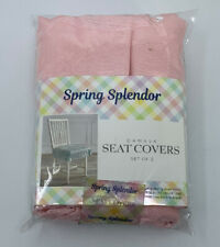 Spring Splendor Damask Luxury Chair Seat Covers in Pink Set of 2
