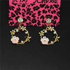 Cute Flower Bee Color Enamel Crystal Betsey Johnson Women Stand Earrings