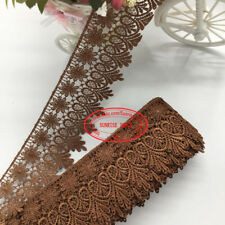 "1 yard chocolate Brown organza trim iridescent sequins beads 3.75/"" wide c14"