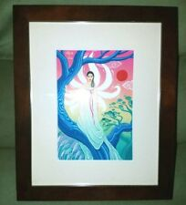 Framed asian folklore 9 tails fox lady illustration art painting disney artist