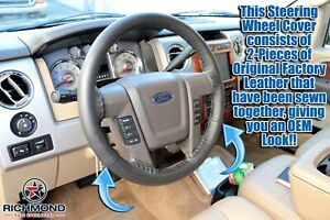 2009-2014 Ford F-150 Platinum Ed F150 - Leather Wrap Steering Wheel Cover, Black