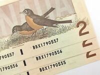1986 Canada 2 Dollar 3 Consecutive Uncirculated BBX Thiessen Crow Banknote R840