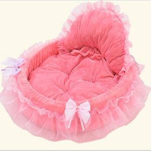 New Cat Dog Puppy Princess Bowknot Lace Ruffle Warm Soft Bed Doghouse Pet