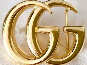 Authentic LARGE GUCCI Marmont GG Shiny Gold Belt Buckle Accessory