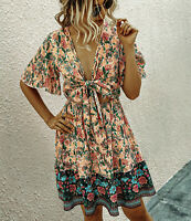 S New Boho Floral Tie Front Summer Gypsy Festival Dress Womens Size SMALL