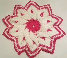 Large Hand Crocheted White Pink Cotton 10 Point Star Hot Pad Potholder Trivet