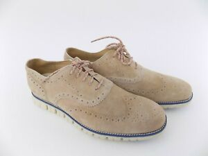 Cole Haan ZEROGRAND Denim Camel Beige Mens Size 11.5M Oxfords Wingtip Shoes
