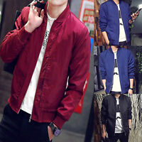 Men's Zipper Casual Business Jacket Fight Bomber Coat Autumn Baseball Outwear US