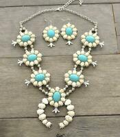 SQUASH BLOSSOM NEW  necklace set in white and turquoise    20 inch adj.