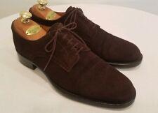 HERMES Men's Chocolate Brown Suede Derby Dress Shoes Size EU 42, US 9 D