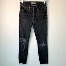"""Madewell 25 Jeans 9"""" High Rise Ripped Skinny Faded Black Distressed Ruth Wash"""