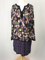 M&S Black & Purple Floral Checked Tunic Shift Dress With Pockets UK Size 14
