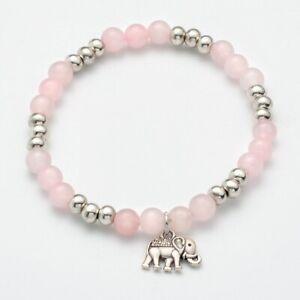 Rose Quartz Bracelet Ladies Women Gemstone Chakra Reiki Heal Elephant Charm UK