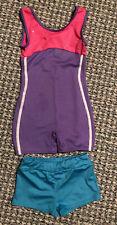 Girls Danskin Freestyle 6/6X Gymnastics Leotard Pink Purple w/Bonus Shorts Teal