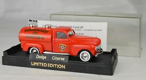"""Solido #4416 1940 Dodge Fire Tank Truck 4 3/8"""" Long France Mint With Display Box"""