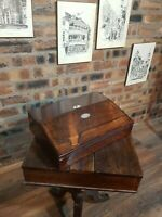 ANTIQUE VICTORIAN ROSEWOOD WRITING SLOPE, LONDON MADE COMPLETE IN ORIGINAL CONDI
