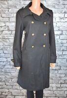 Plain Black Long Natural Wool Blend Military Reefer Parka Coat Size 10 - Eu 38